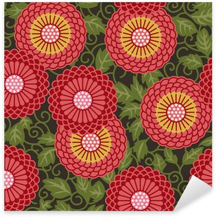 Pixerstick Sticker Traditionele bloemen naadloze patroon