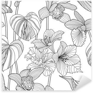 Sticker Pixerstick Transparente motif floral