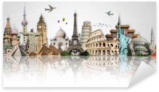 Travel the world monuments concept Sticker - Pixerstick