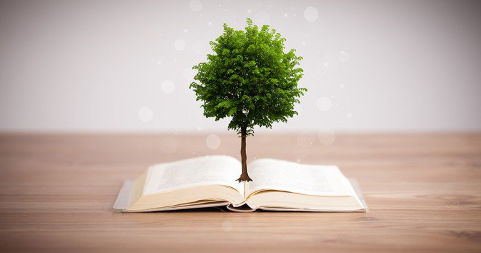 Sticker - Pixerstick Tree growing from an open book - Ecology