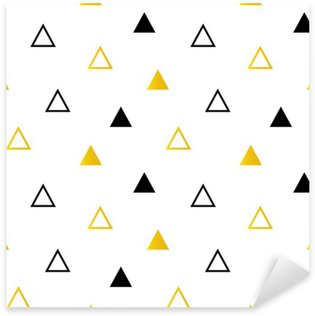 Sticker - Pixerstick Trendy black and gold triangles on white seamless pattern background.