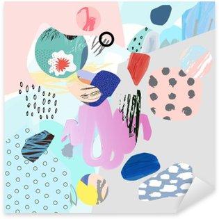 Pixerstick Sticker Trendy creatieve collage met verschillende texturen en vormen. Moderne grafisch ontwerp. Ongebruikelijke kunstwerk. Vector. Geïsoleerd