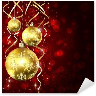 Sticker Pixerstick Trois boules de Noël dorées