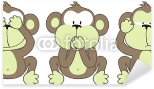 Sticker Pixerstick Trois singes disant