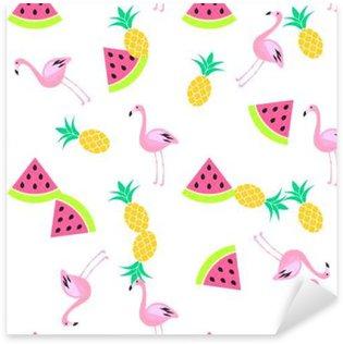 Pixerstick Sticker Tropic zomer naadloze witte patroon met watermeloen, flamingo en ananas. Roze en geel leuk patroon.