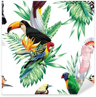 Sticker - Pixerstick tropical birds and palm leaves pattern