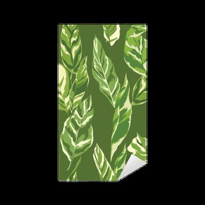 Tropical Leaves Background - Vintage Seamless Pattern Sticker - Pixerstick
