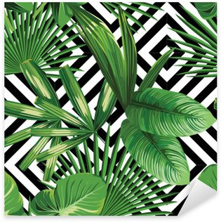 tropical palm leaves pattern, geometric background Sticker - Pixerstick