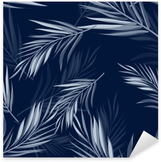 Tropical seamless monochrome blue indigo camouflage background with leaves and flowers Sticker - Pixerstick