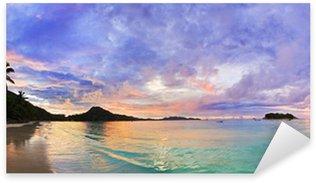 Pixerstick Sticker Tropisch strand Cote d'Or bij zonsondergang, Seychellen
