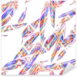 Pixerstick Sticker Tropische gebladerte naadloos patroon. Kleurrijke aquarel bladeren van exotische Calathea Whitestar plant op zigzag geometrisch patroon, gemengd effect. Textieldruk.