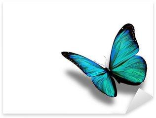 Pixerstick Sticker Turquoise vlinder, geïsoleerd op witte achtergrond
