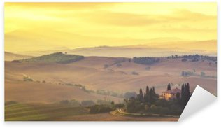 Tuscan autumn landscape,retro colors, vintage Sticker - Pixerstick