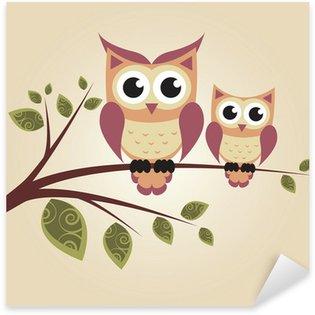 Pixerstick Sticker Twee uilen op de boom