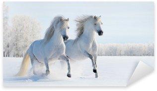 Sticker - Pixerstick Two galloping white ponies