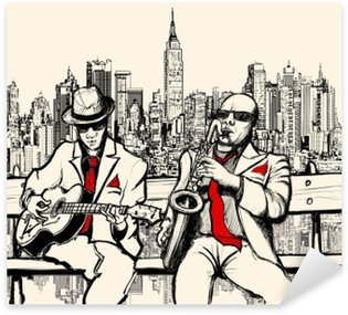 Sticker - Pixerstick two jazz men playing in New York