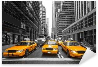 Pixerstick Sticker TYellow taxi's in New York City, Verenigde Staten.