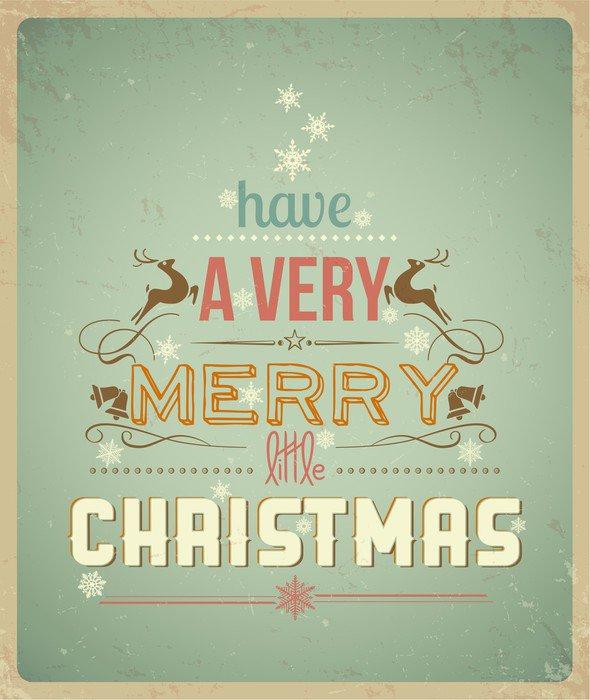 Sticker - Pixerstick Typography Christmas Greeting Card. - International Celebrations