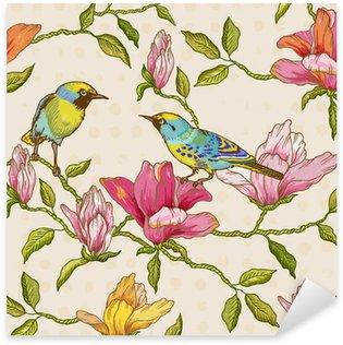 Pixerstick Sticker Uitstekende Naadloze Achtergrond - Bloemen en Vogels