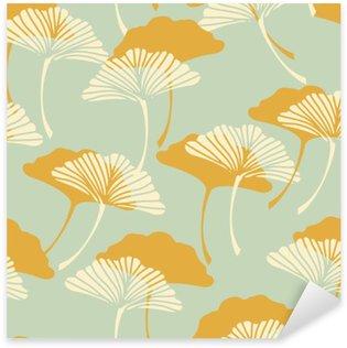 Sticker Pixerstick Un japonais ginkgo biloba style laisse la tuile sans couture dans un or et bleu clair palette de couleurs