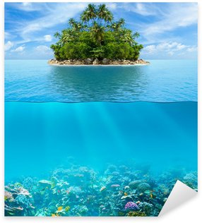 Underwater coral reef seabed and water surface with tropical isl Sticker - Pixerstick