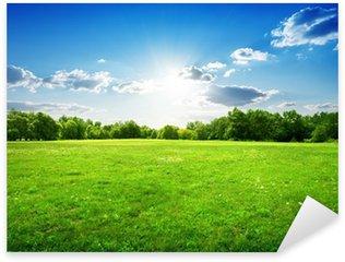 Sticker Pixerstick Une prairie verte avec une forêt en arrière-plan