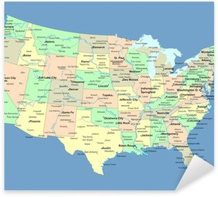 Pixerstick for All Surfaces USA map with names of states and cities