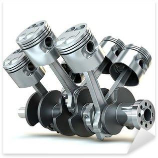 V6 engine pistons. 3D image. Sticker - Pixerstick