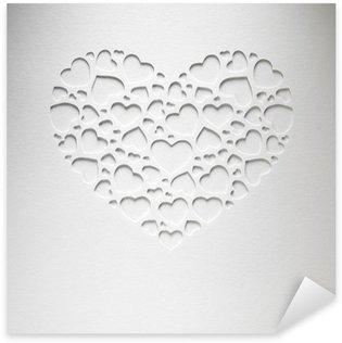Pixerstick Sticker Valentijn dag hart gemaakt van kleine hartjes op papier kaart