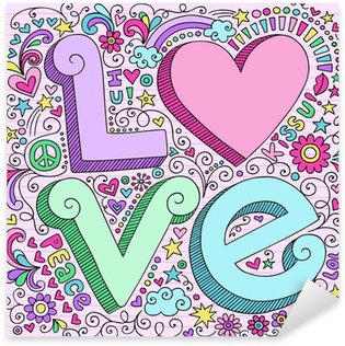 Valentine Love Heart Notebook Doodles Sticker - Pixerstick