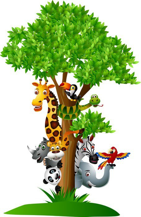 Sticker - Pixerstick various funny cartoon safari animals to hide behind a tree - Wall decals