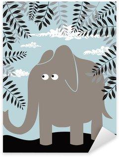 Sticker Pixerstick Vecteur de fond avec l'éléphant et le feuillage