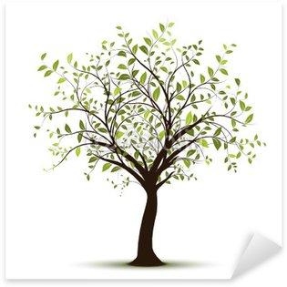 Sticker Pixerstick Vecteur série, arbre vectoriel fond blanc - arbre vert sur fond blanc