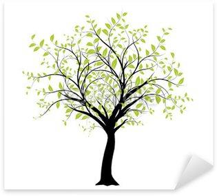 Sticker Pixerstick Vecteur série - décoration vectorielle verte arbre sur blanc