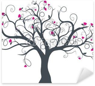 Sticker Pixerstick Vecteur série - dessin d'arbre à fleurs vectoriel au printemps