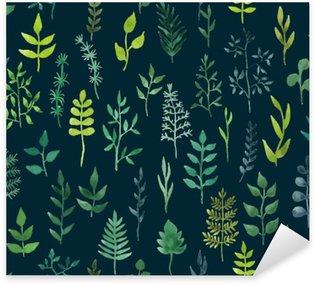 Sticker Pixerstick Vecteur vert aquarelle seamless floral.