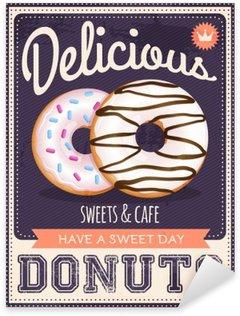 Sticker Pixerstick Vecteur vieux style d'affiche de beignets