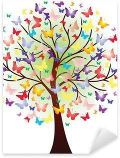 Sticker - Pixerstick Vector beautiful spring tree, consisting of butterflies