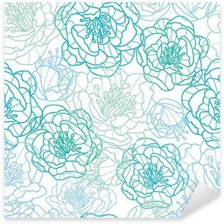 Pixerstick Sticker Vector blauwe lijn kunst bloemen elegante naadloze patroon achtergrond