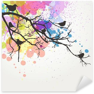 Sticker - Pixerstick Vector Branch with birds on an abstract background