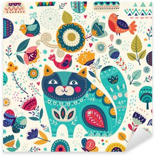 Vector colorful illustration with beautiful cat, butterflies, birds and flowers Pixerstick Sticker