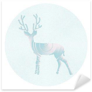 Vector deer with horns - abstract illustration Sticker - Pixerstick