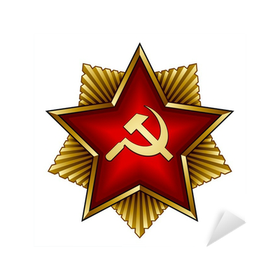 vector golden soviet badge - red star sickle and hammer ...