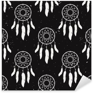 Sticker Pixerstick Vector grunge monochrome seamless capteurs de rêves. conception Boho