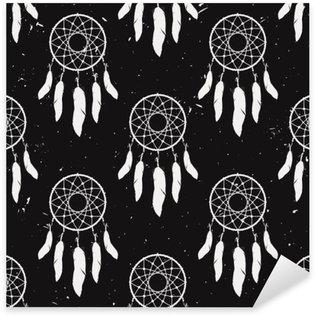 Pixerstick Sticker Vector grunge zwart-wit naadloze patroon met droom catchers. Boho ontwerp