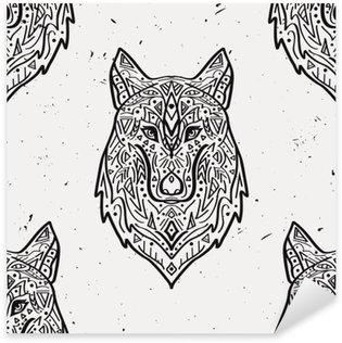 Pixerstick Sticker Vector grunge zwart-wit naadloze patroon met tribal stijl wolf met etnische ornamenten. Amerikaanse Indische motieven. Boho ontwerp.