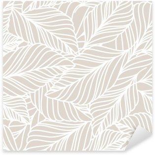 Sticker - Pixerstick Vector hand drawn doodle leaves seamless pattern. Light pastel b