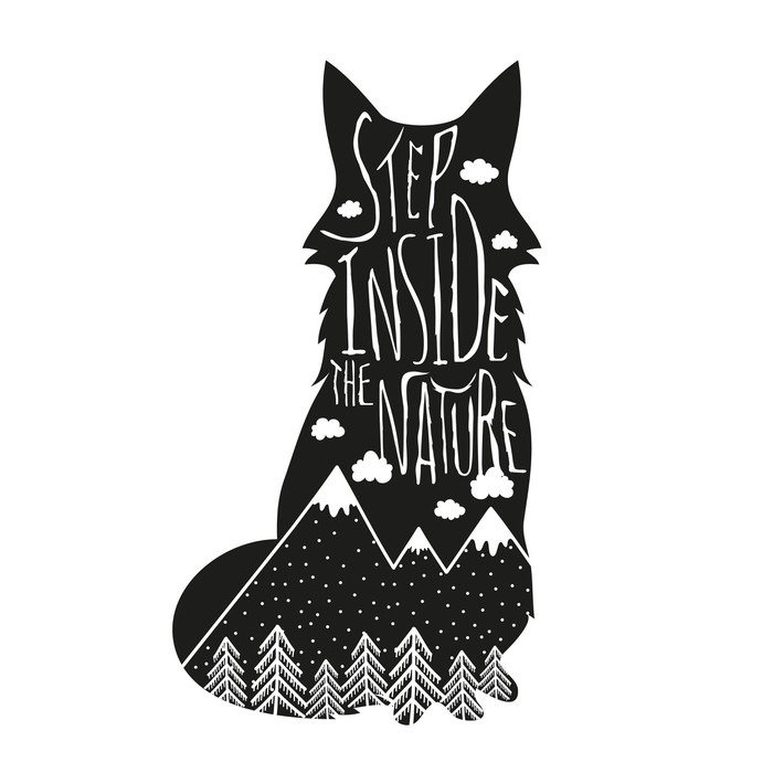 Sticker - Pixerstick Vector hand drawn lettering illustration. Step inside the nature. Typography poster with fox, mountains, pine forest and clouds. - Animals