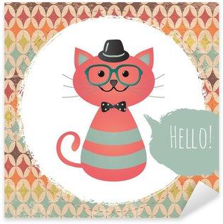 Sticker - Pixerstick Vector Hipster Cat greeting card design illustration