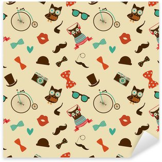 Sticker - Pixerstick Vector Hipster Doodles Colorful Seamless Pattern, Background